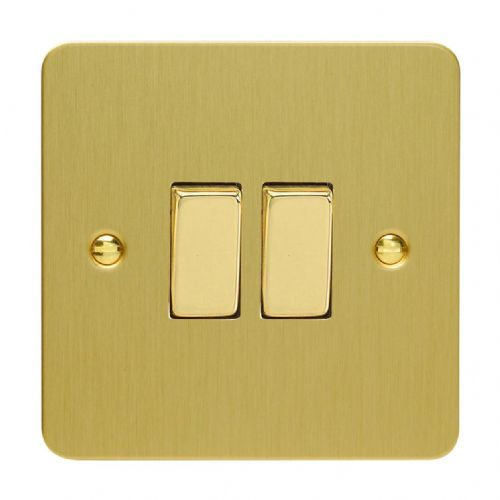 Varilight XFB2D Ultraflat Brushed Brass 2 Gang 10A 1 or 2 Way Rocker Light Switch